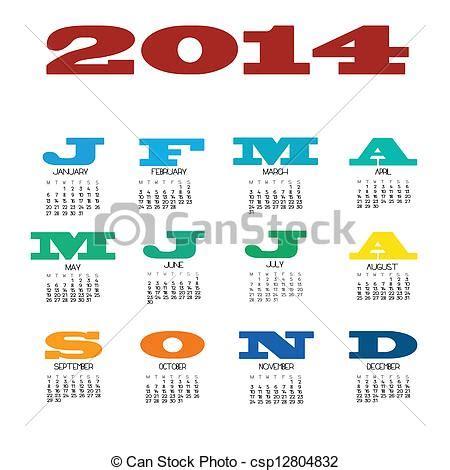 Calendrier 12 Mois Vecteurs De 2014 Calendrier 12 Mois A 2014 12 Mois