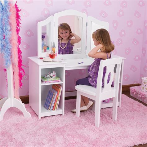 Vanity Children by Kidkraft Deluxe Dressing Table Chair In White Costco Uk Baba S Big Room