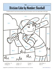 Division Coloring Worksheets by Math Coloring Sheets On Color By Number Baseball Printable
