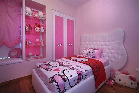 comel bergaya  bilik tidur  kitty  anak