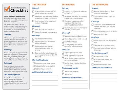 home checklist home enhancement checklist