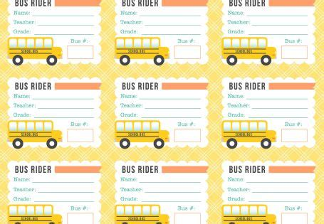 printable bus tickets free printable bus rider labels for school kids teachers