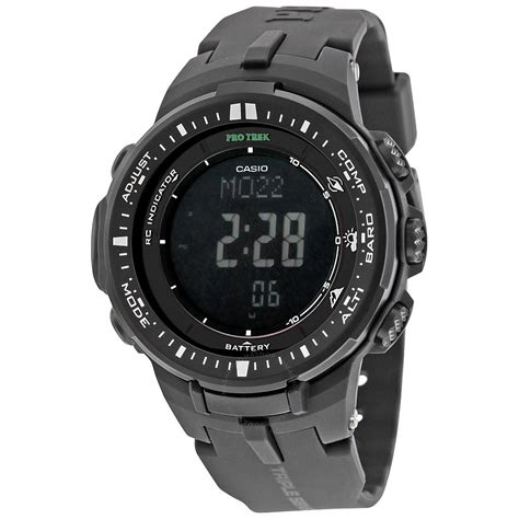 casio protek casio pro trek black digital resin s prw