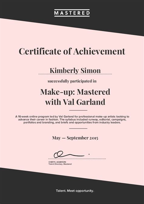 Jasa Make Up Certificate make up mastered with val garland certificate