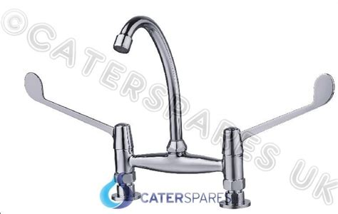 03q4 commercial kitchen faucet rinse sink mixer tap silver commercial catering kitchen sink twin feed hot cold