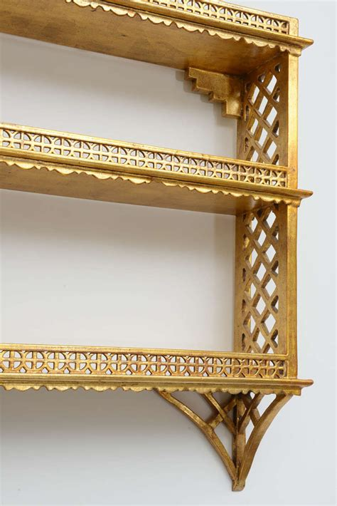 Chinoiserie Wall Shelf by Gilded Chinoiserie Pagoda Wall Shelf At 1stdibs