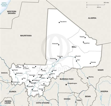 political map of mali vector map of mali political one stop map
