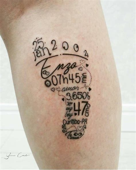date of birth tattoos baby foot birth date weight name tattoos