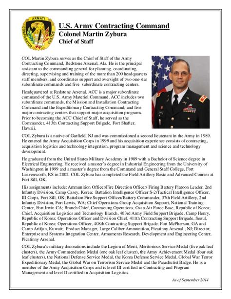 military biography format biography col martin zybura acc chief of staff