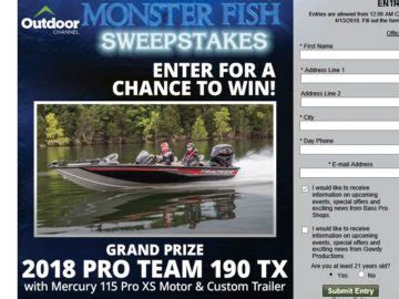 Bass Pro Shop Giveaway - bass pro shops quot monster fish quot sweepstakes