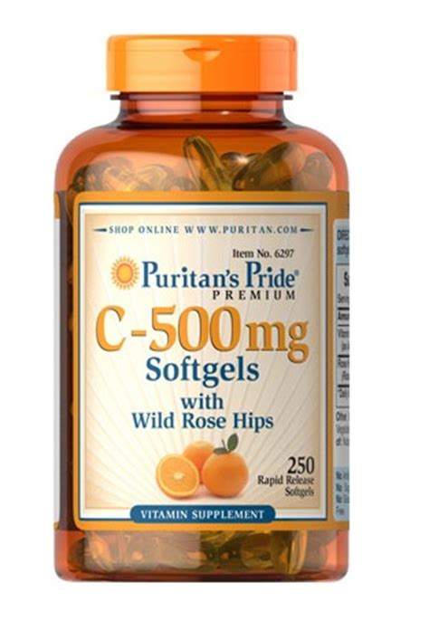 Vitamin Max C 500 vitamin c 500 mg with rosehips 250 softgels puritan s pride puritan pride