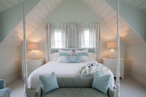 farrow and ball curtains white and blue cottage bedroom with white seashells