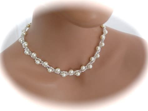 ivory bridal necklace wedding by clairesparklesbridal
