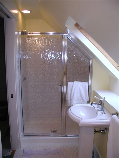 Sloped Ceiling Shower by Small Bathroom Slanted Ceiling Shower Raised Shower Tray