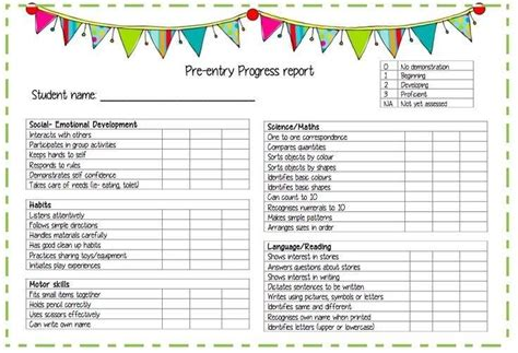pre kindergarten report card template progress reports daycare ideas