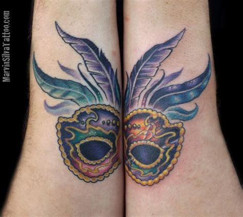 mardi gras tattoo mardi gras mask by marvin silva tattoos