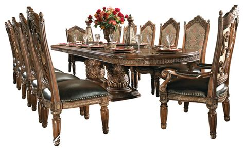 valencia antique style round table dining room set 8 piece villa valencia dining room table set with china