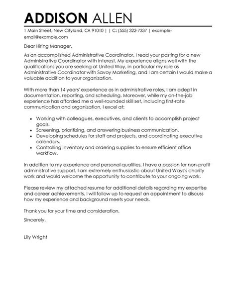 best office administrator cover letter examples livecareer