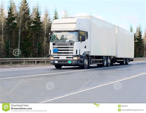 trailer white white blank tractor trailer truck on road royalty free