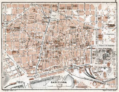 5 themes of geography barcelona old map of barcelona center in 1913 buy vintage map