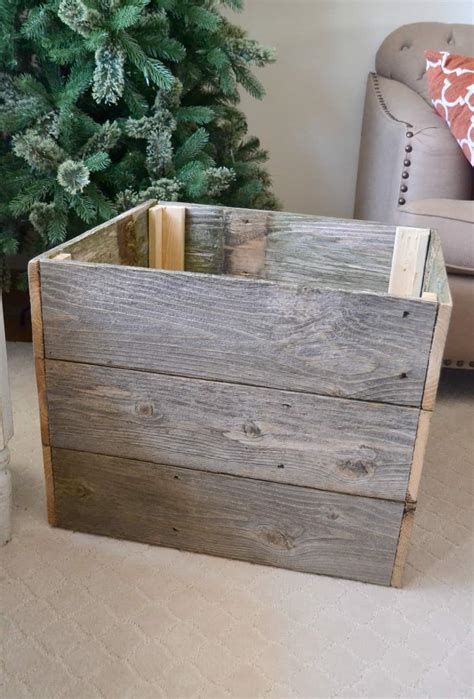 holiday wood storage box ideas repurposed tree box my creative days