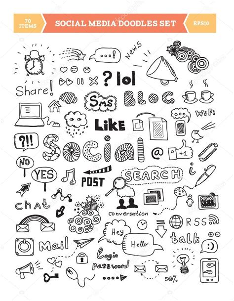doodle chat social media doodle elements set stock vector 169 bloomua
