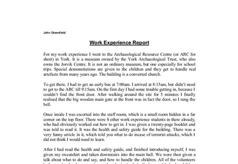 sle work experience report work experience report template 28 images my work