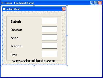 desain form vb membuat jadwal shalat dengan visual basic