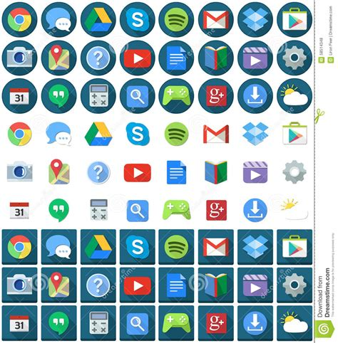 stock android icon pack flat circle square android icons editorial stock photo image 58514348