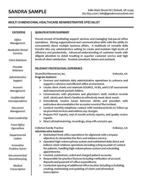 resume objective exles healthcare manager sle