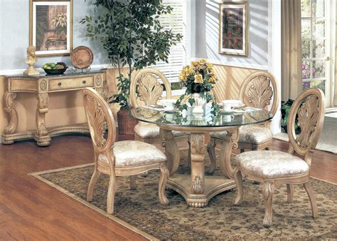 Homelegance Bedroom Emily Formal Dining Furniture Round Glass Top Table