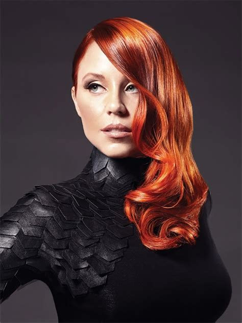 filipina artist with copper brown hair color lady in red copper color formula from goldwell hair