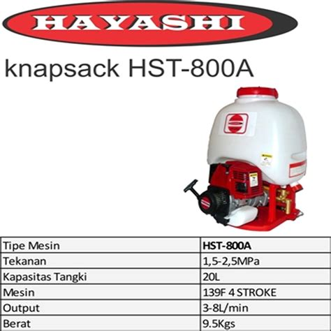 Harga Alat Semprot Hama Tanaman harga jual hayashi hst 800a alat semprot hama 20 liter