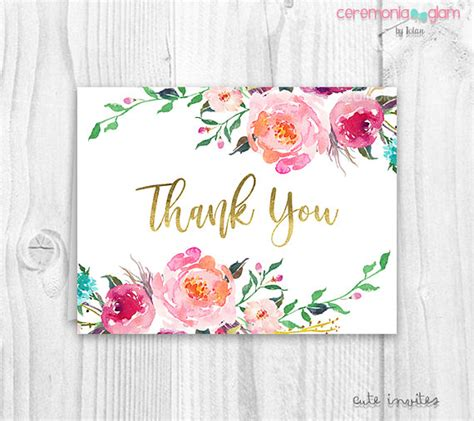 floral thank you card template floral thank you cards baby shower floral thank you card
