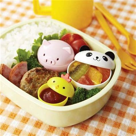 Cutlery Sets Cute Panda Pig Mini Sauce Containers For Bento Box
