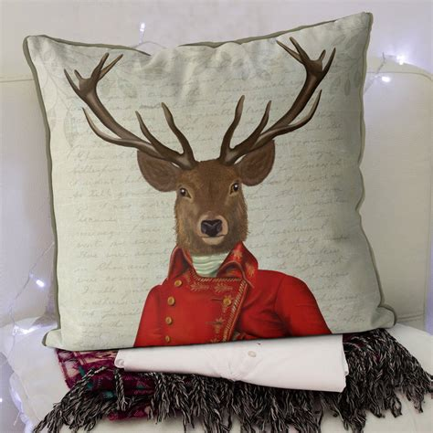 home decor red deer deer cushion red and gold jacket by fabfunky home decor