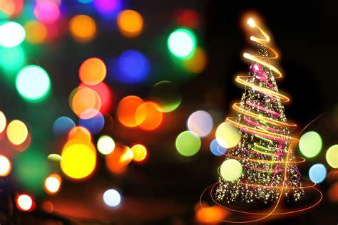 merry light tree bokeh effect hdwallpaperfx
