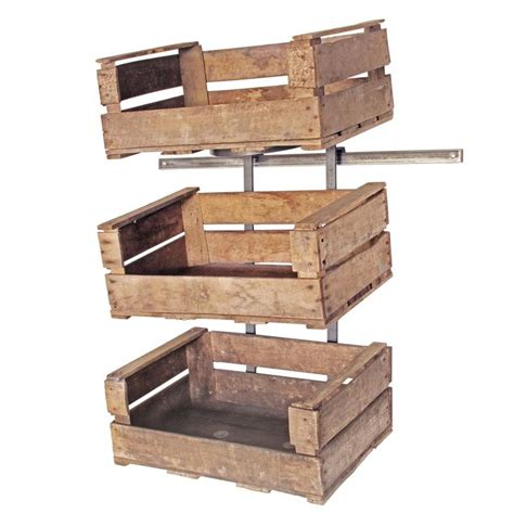 wooden display shelves wall mounted fruit crate display unit retail display