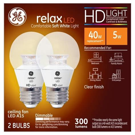 ge relax hd light bulbs relax soft white hd 40watt equivalent a15 ceiling fan