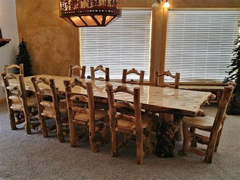 aspen lodge log dining table rustic furniture aspen and