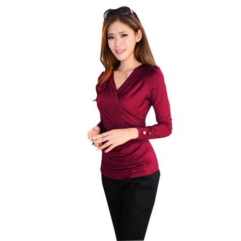 Blouse Wanita Garlique Black Amadora Top wrap sleeve korean blouses tops plus size satin