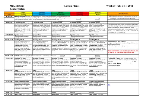 Kindergarten Daily Lesson Plan Template 8 best images of kindergarten lesson plan template