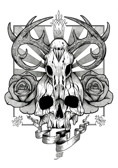 tattoo designs skull and roses skull and roses design by aaronkingillustrator on