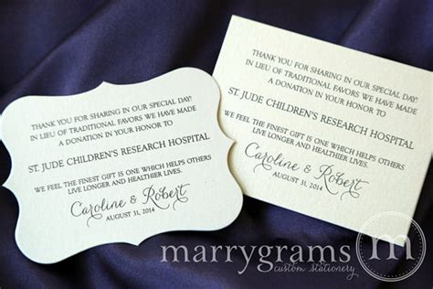 in lieu of gifts wedding wedding donation favor cards in lieu of favors reception