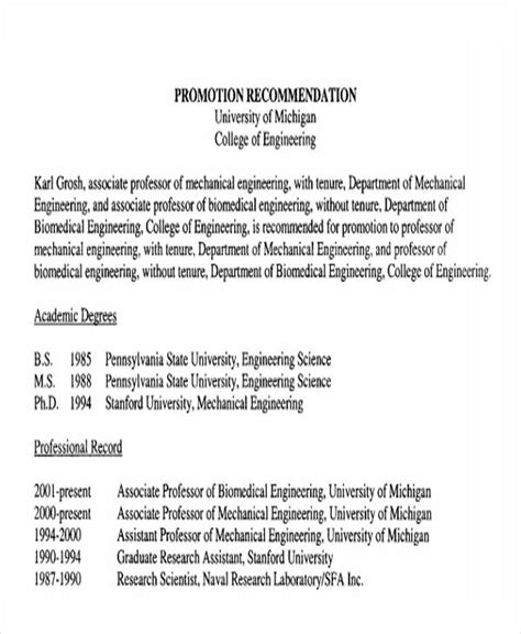 Promotion Recommendation Letter For Project Manager 26 letters