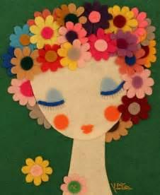 Handmade Felt Flowers - handmade felt portrait felt artwork wall hanging