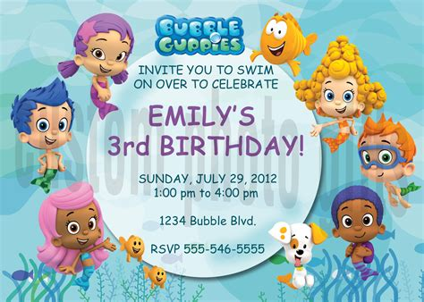 personalized bubble guppies birthday invitation digital