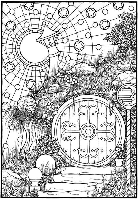 hobbit coloring pages quot the door quot from the coloring book equinox equinox a