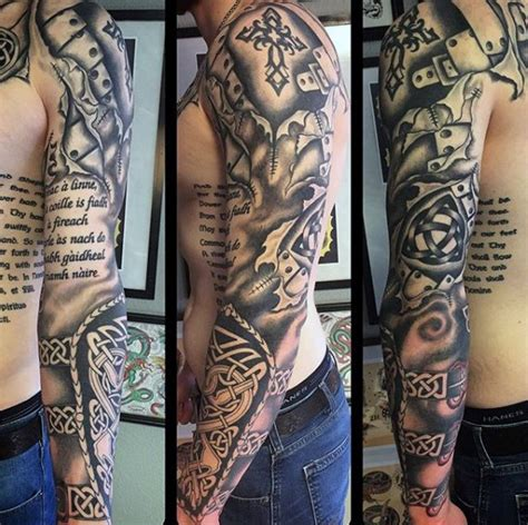 celtic and bali inspired sleeve by meatshop tattoo on 100 celtic knot tattoos for men interwoven design ideas