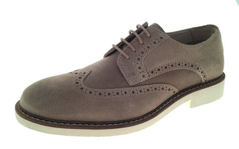 mens leather suede brogues lace up white sole smart casual